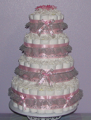 Pink & Grey Lace Diaper Cake