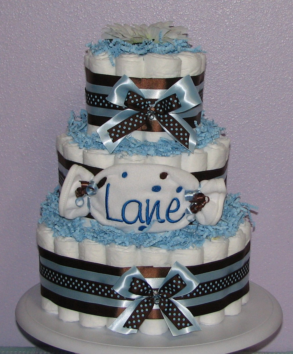 Blue-Brown-Polka-Dot-Diaper-Cake.JPG - Blue & Brown Polka Dot Diaper Cake