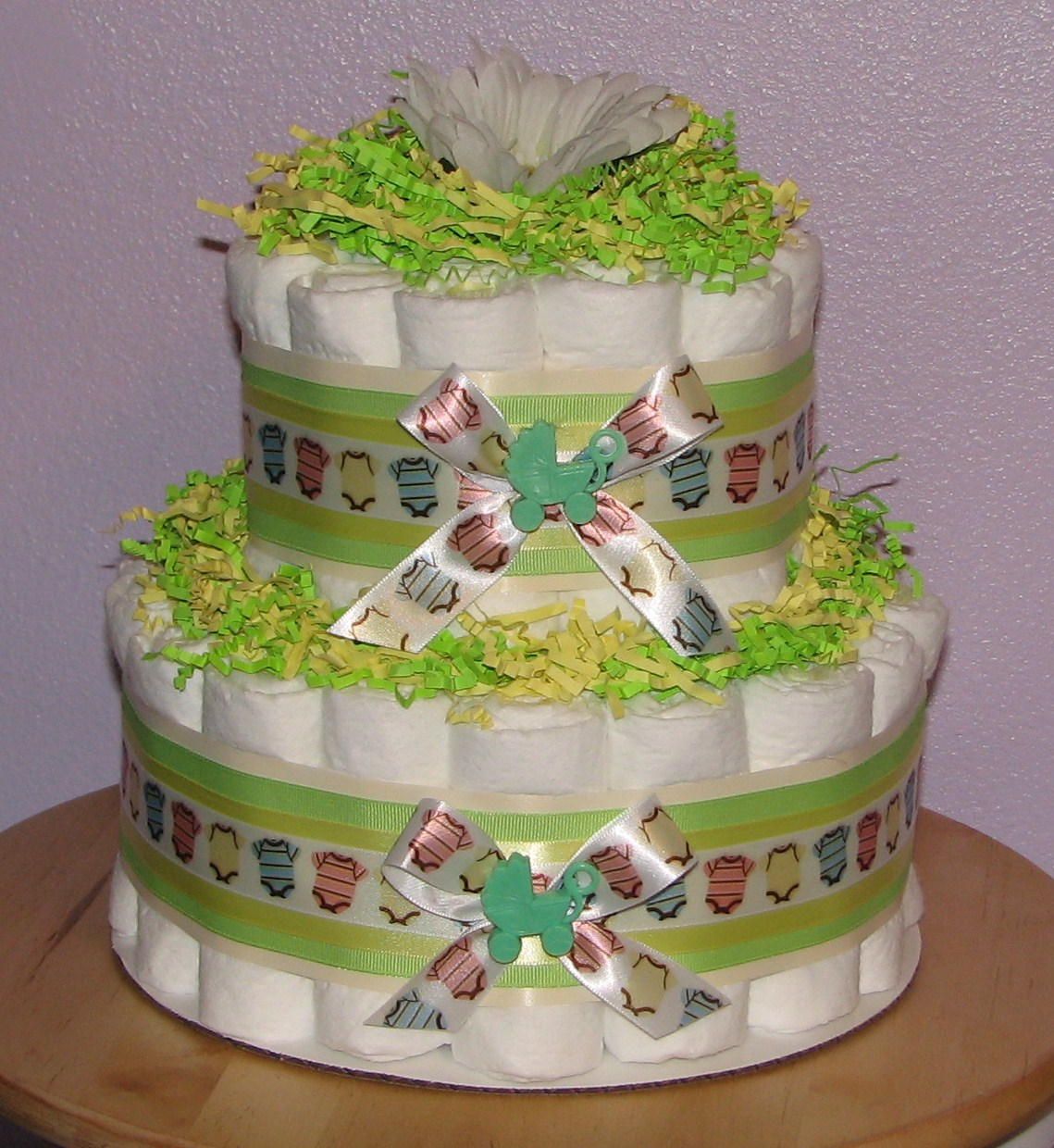 Diaper-Cake-Centerpiece.JPG - Neutral Baby Diaper Cake