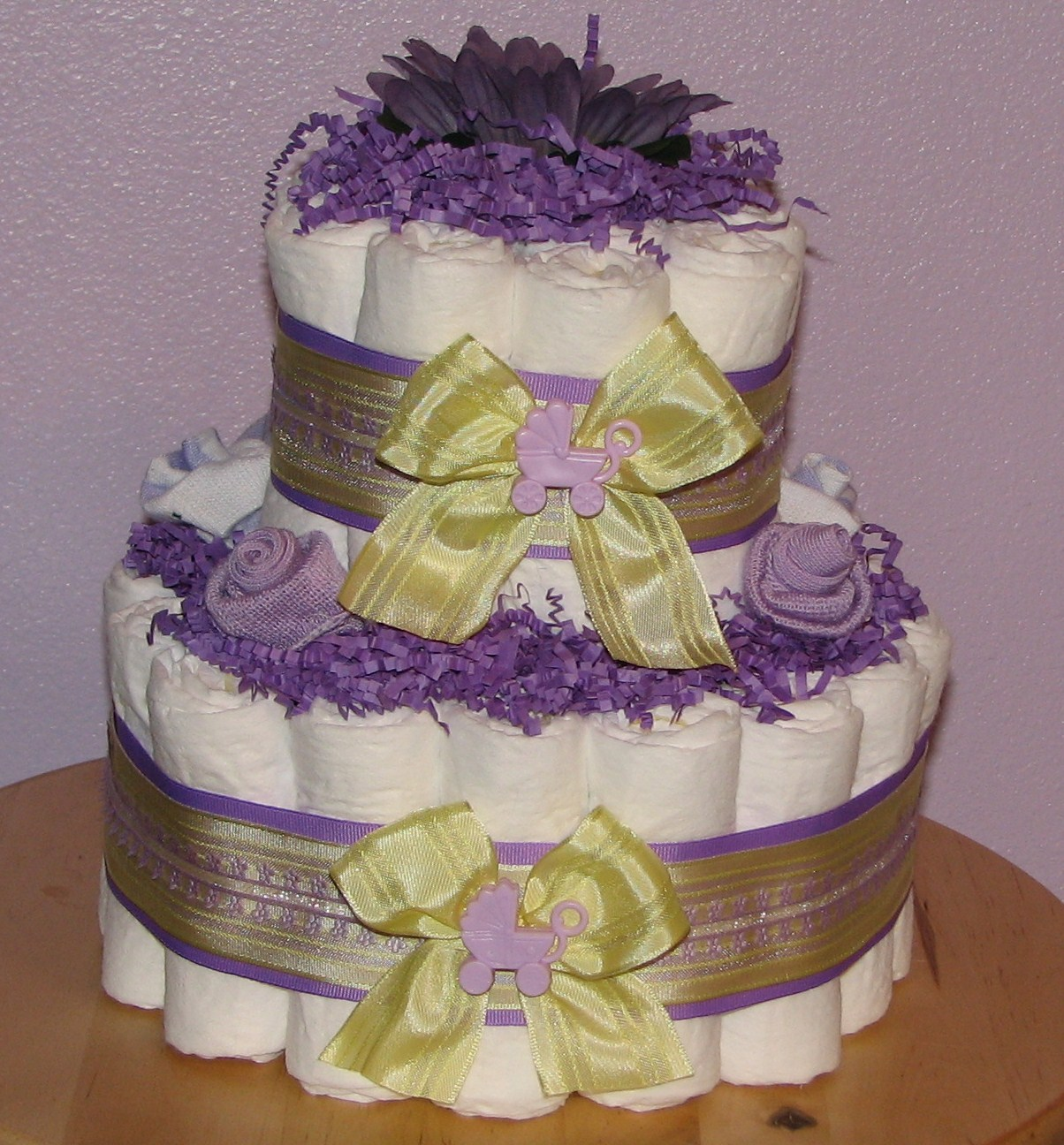 Purple-Yellow-Baby-Shower-Centerpiece.JPG - Purple & Yellow Diaper Cake
