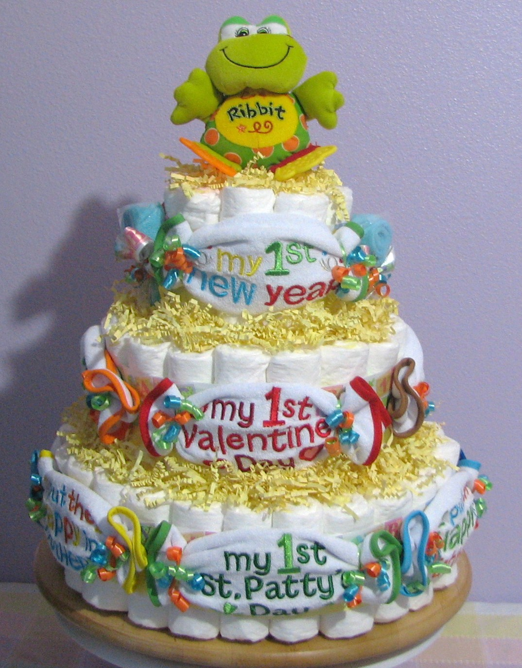 Baby's First Holiday Bibs Diaper Cake