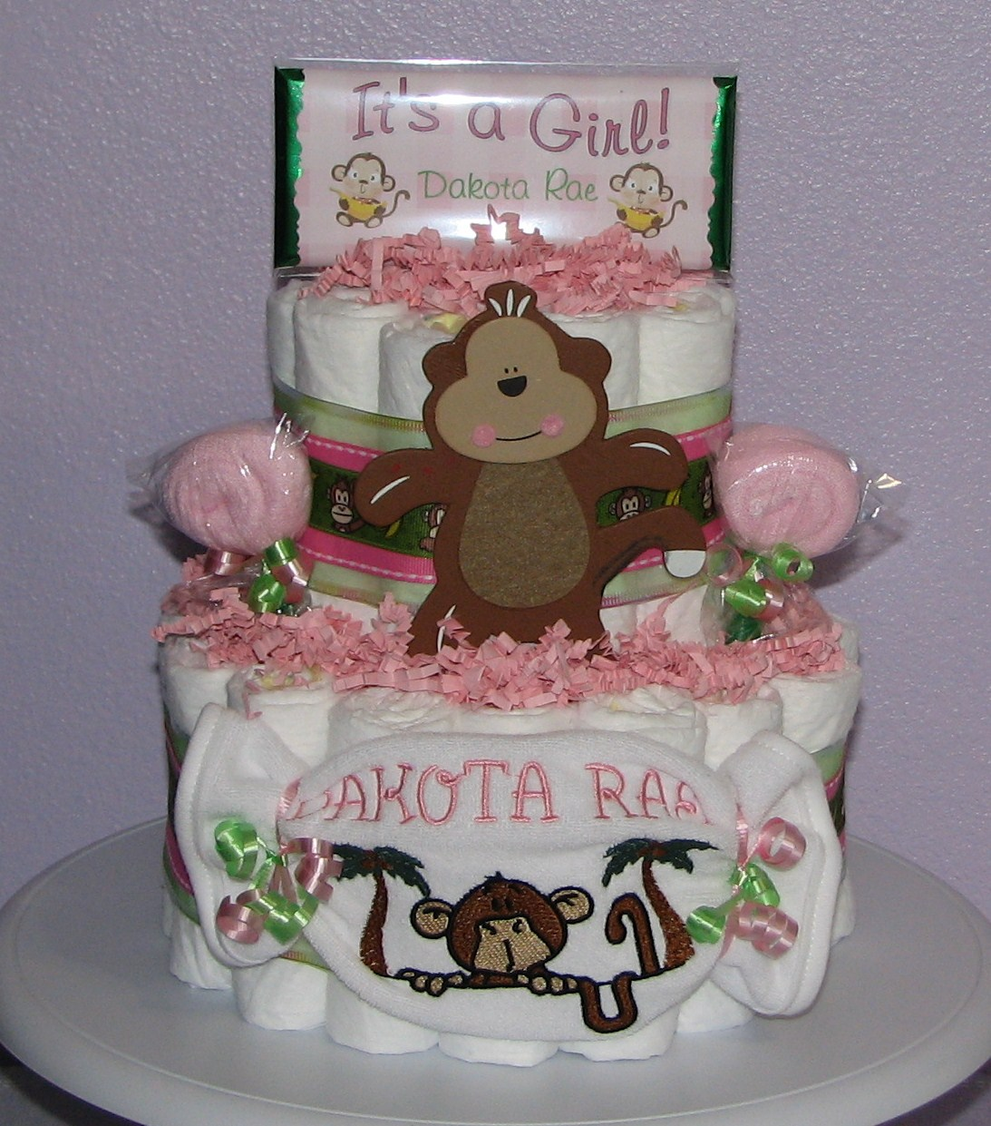 Girl-Monkey-Diaper-Cake.JPG - Girl Monkey Diaper Cake