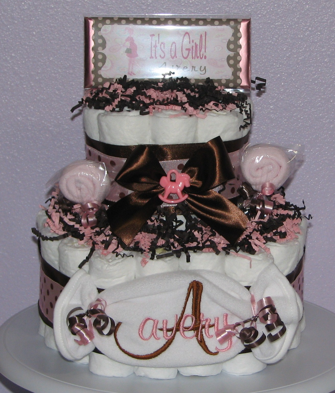 Pink-Brown-Diaper-Cake.JPG - Pink Brown Polka Dot
