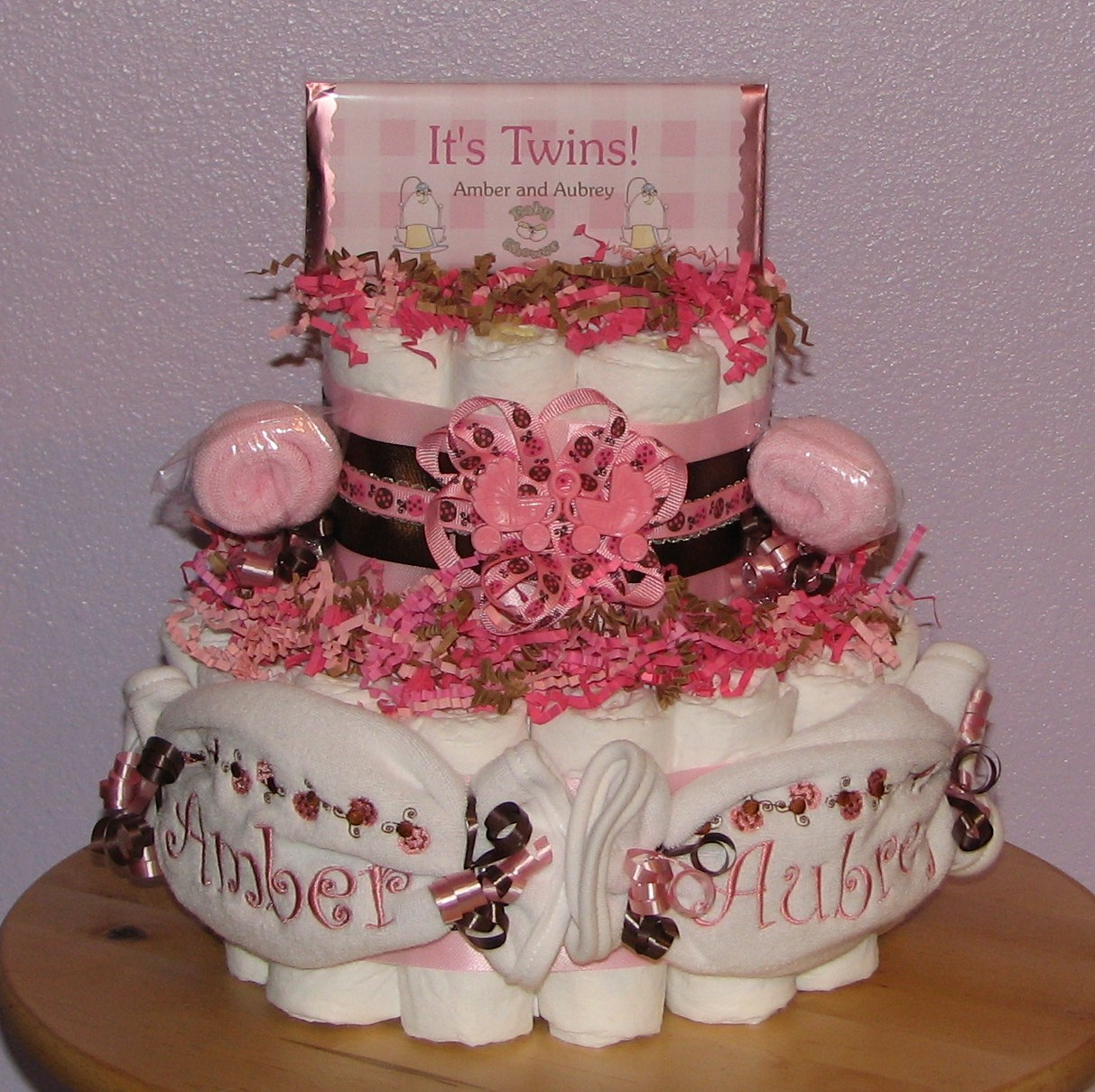 PinkBrown-Ladybug-Diaper-Cake.JPG - Personalized Twins Diaper Cake