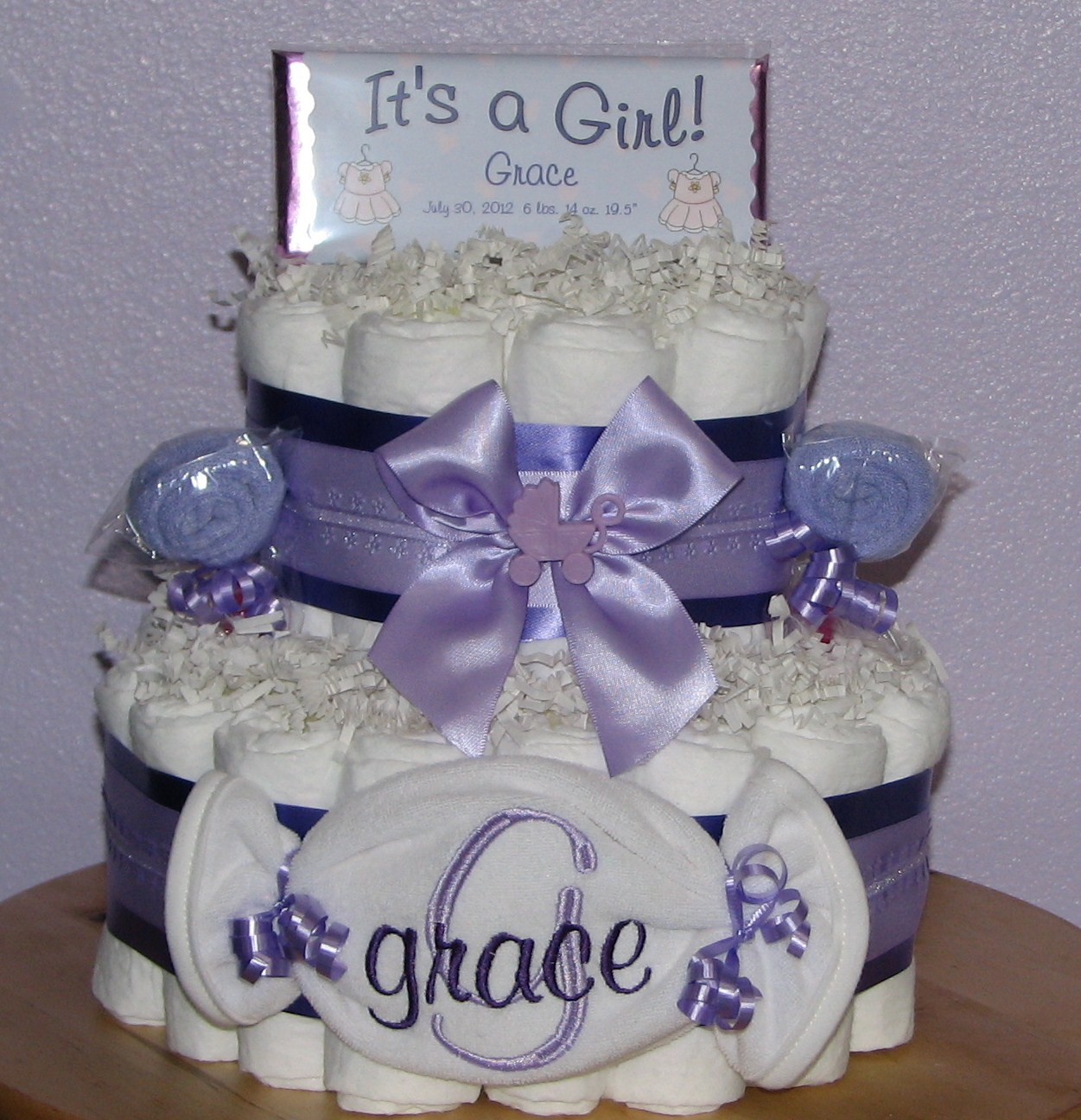 Purple-Diaper-Cakes.JPG - Purple Diaper Cakes