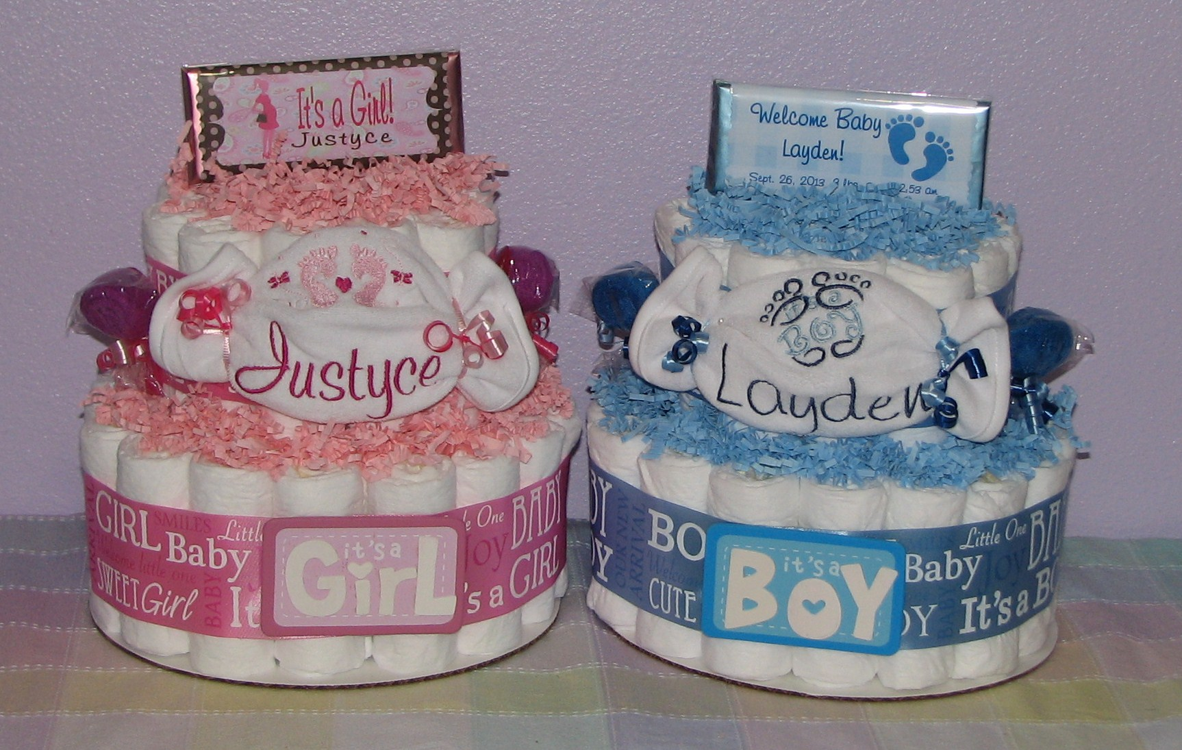 baby-boy-and-girl-diaper-cakes.JPG - Embroidered Diaper Cakes