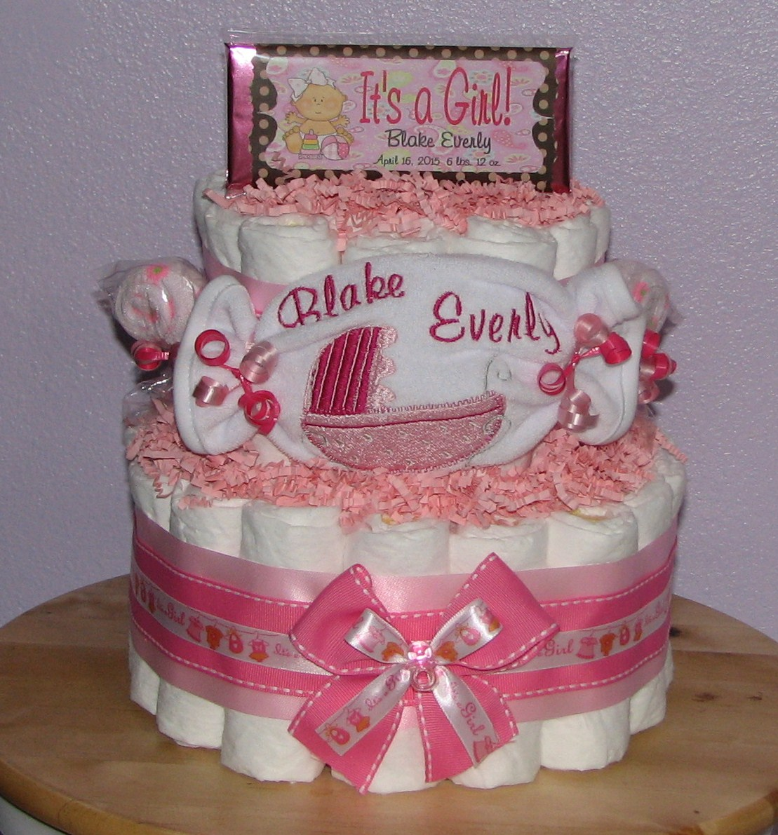 girl-diaper-cake.JPG - Girl Baby Carriage