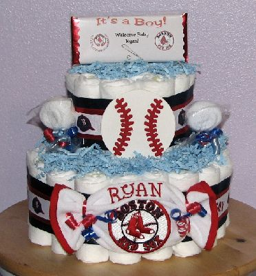 Boston Red Sox Diaper CakeJPG
