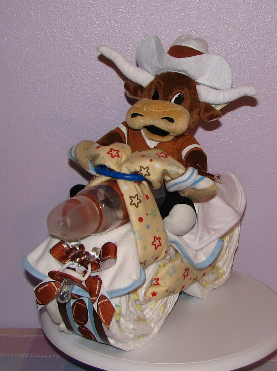 Texas-Longhorns-Diaper-Motorcycle.JPG - Texas Longhorns Baby Shower Gifts