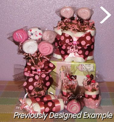 Table Centerpieces - Baby Shower Favors/pink polka dot swirls gift