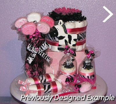 Table Centerpieces - Baby Shower Favors/Pink Zebra Baby Shower