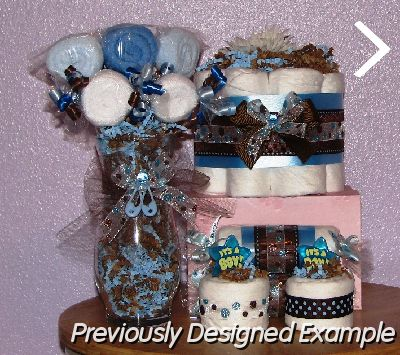 Table Centerpieces - Baby Shower Favors/brown blue polka dots