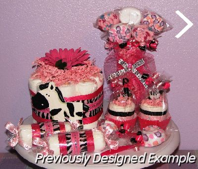Table Centerpieces - Baby Shower Favors/Hot Pink Zebra Baby Shower
