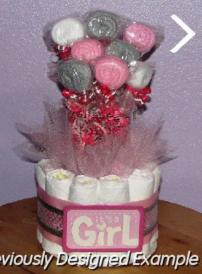 Table centerpieces shower favors pink and sliver baby for Pink diaper bouquet