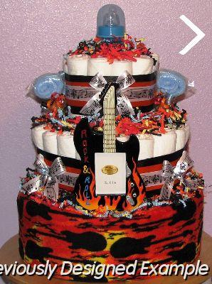 Baby boy diaper cakesrock star guitar frame jpg rock roll guitar diaper cake freerunsca Images