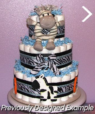 Zebra-Diaper-Cake.JPG - Zebra Diaper Cake