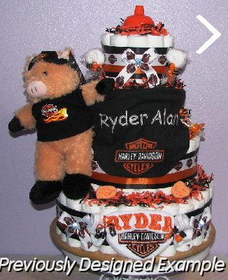 ( Baby Boy Diaper Cakes #27 ), Harley Hog.JPG   Custom Harley Davidson,  Pesonalized Shower Favors