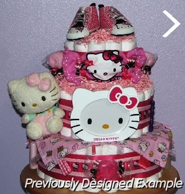 ... Hello Kitty Diaper Cake (3).JPG   Hello Kitty Shoes, Pesonalized Shower  Favors