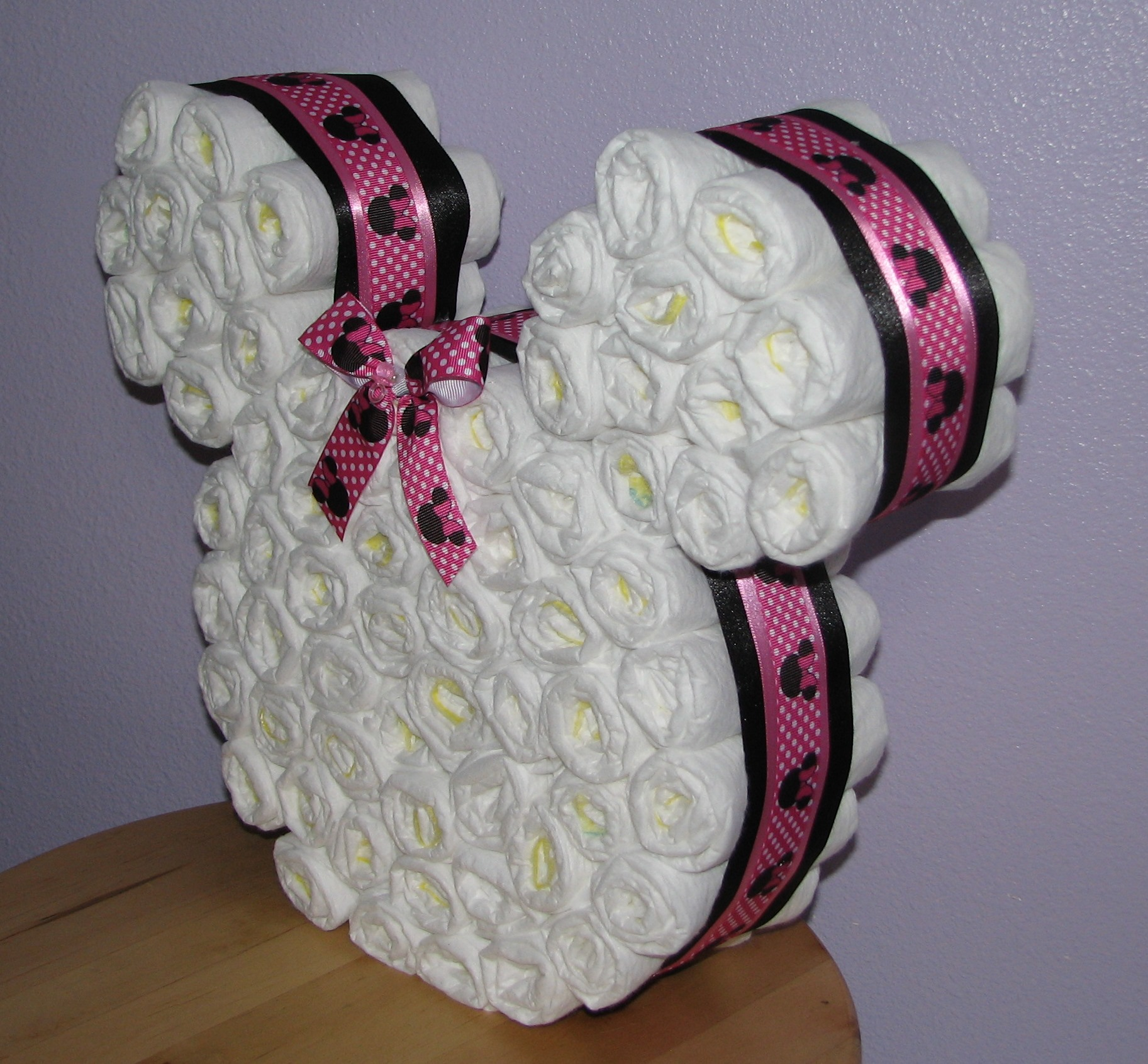 Minnie Mouse Ears Diaper Cake
