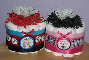 Personalized Diaper Cupcake Centerpieces