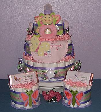 Butterfly Diaper Cake Centerpiece