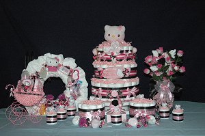 Hello Kitty Diaper Cake Table Centerpiece
