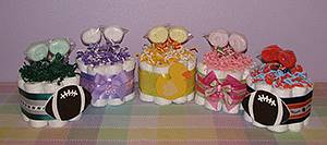 Washcloth Lollipop Diaper Cupcakes for Baby Showers