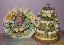 Diaper Cake Combo With Diaper Wreath