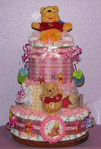 Zoey Winnie the Pooh Embroidered Diaper Cake