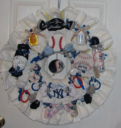 New York Yankees Diaper Wreath